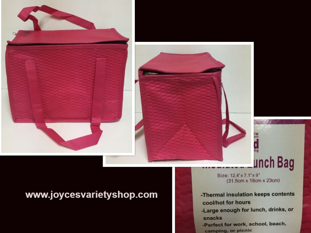 "Hot Pink Insulated Lunch Bag 12.5"" x 7"" x 9"" Zip Around Top"