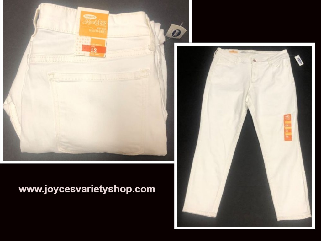 Old Navy Rock Star White Crop Jeans Sz 12