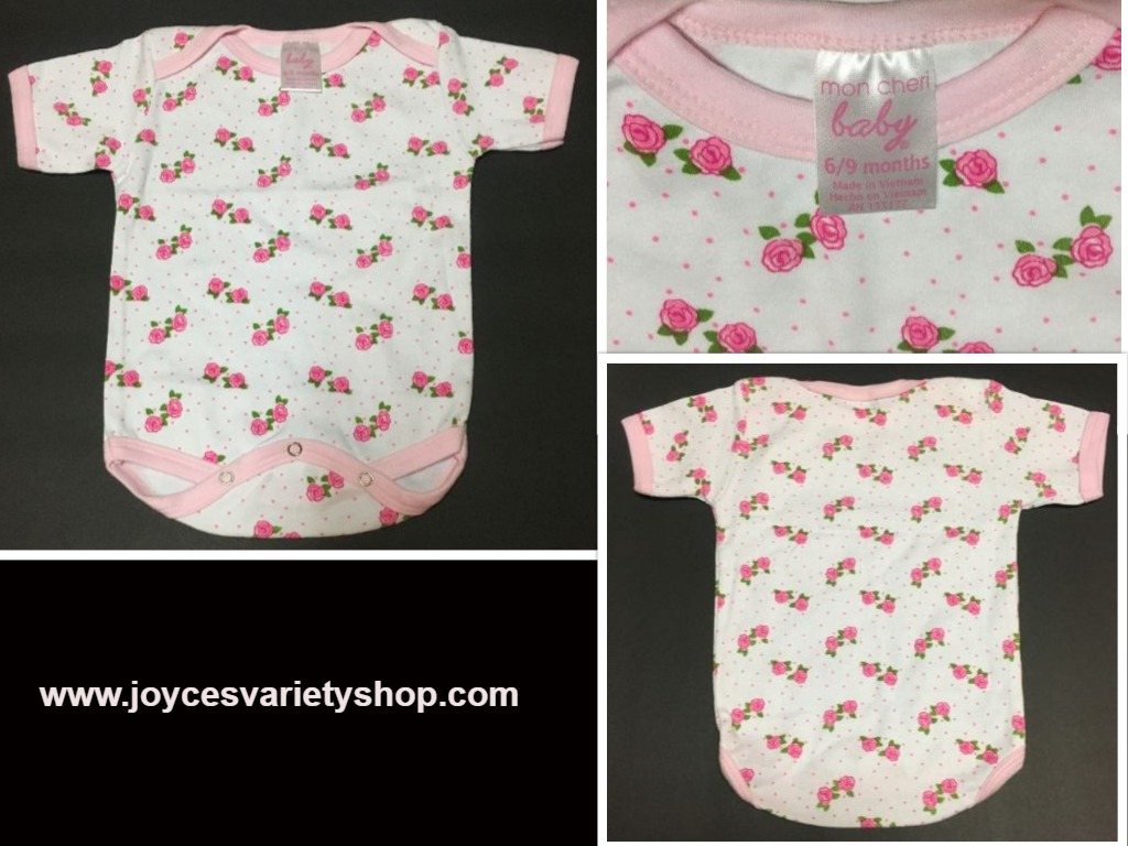 Girl's Mon Cheri 1 Piece Infant Outfit 6/9 Months Roses
