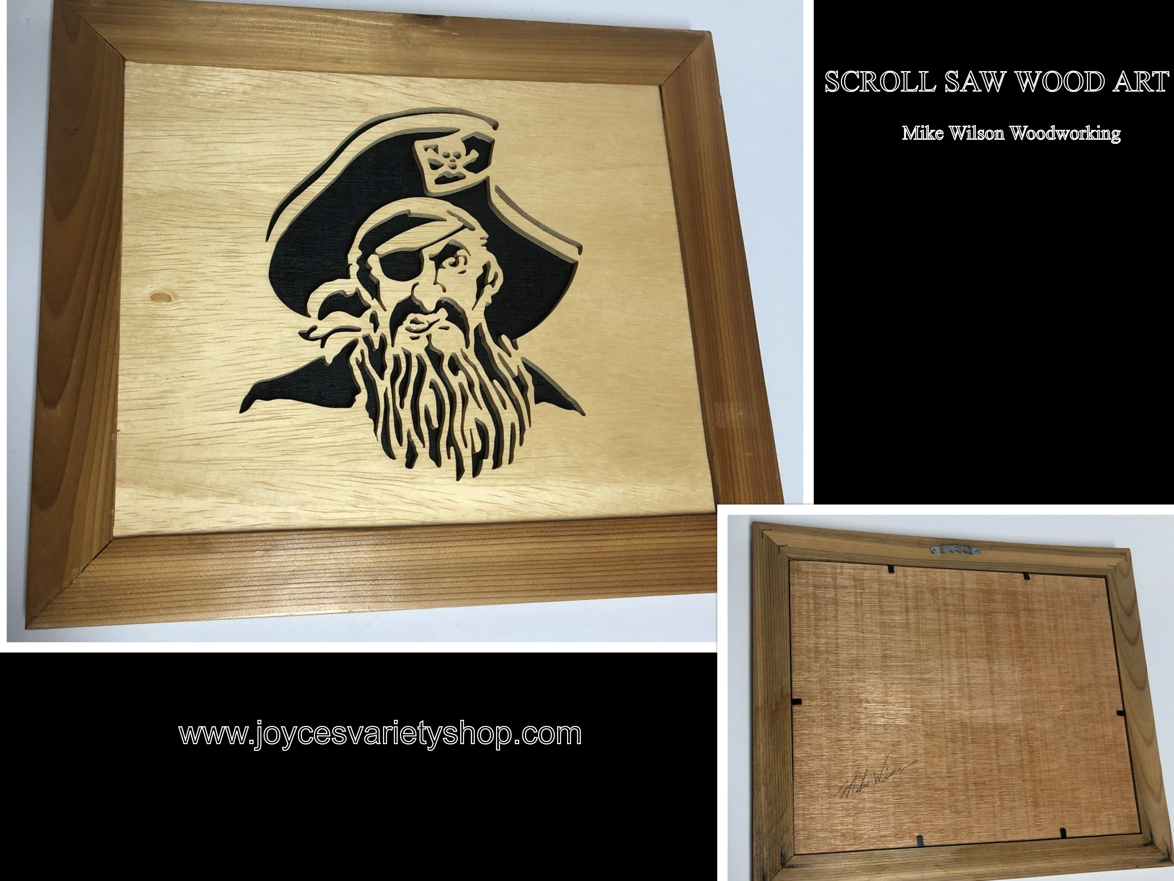 "Scroll Saw Art Mike Wilson Woodwork Pirate 10"" x 12"" Framed"