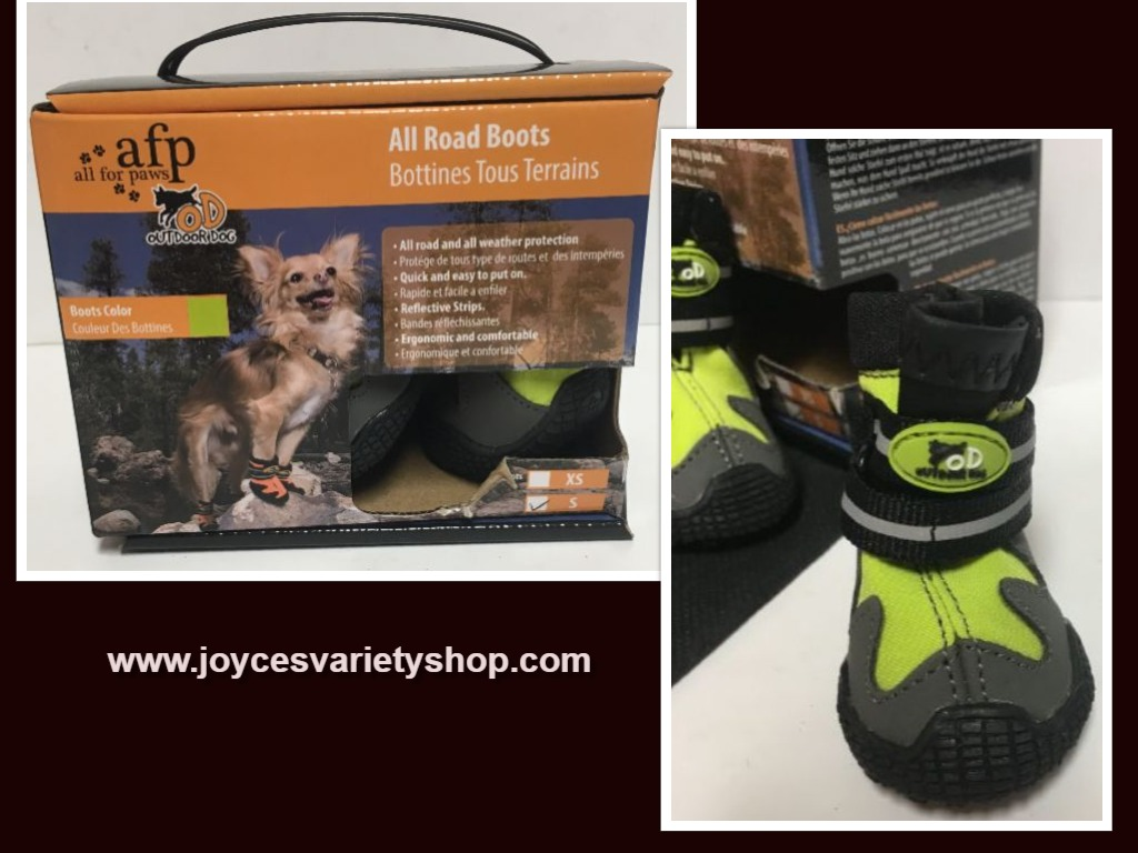 "Pet All Road Boots Sz Small (2"") Neon Green & Gray 4 In Set Velcro Closure"