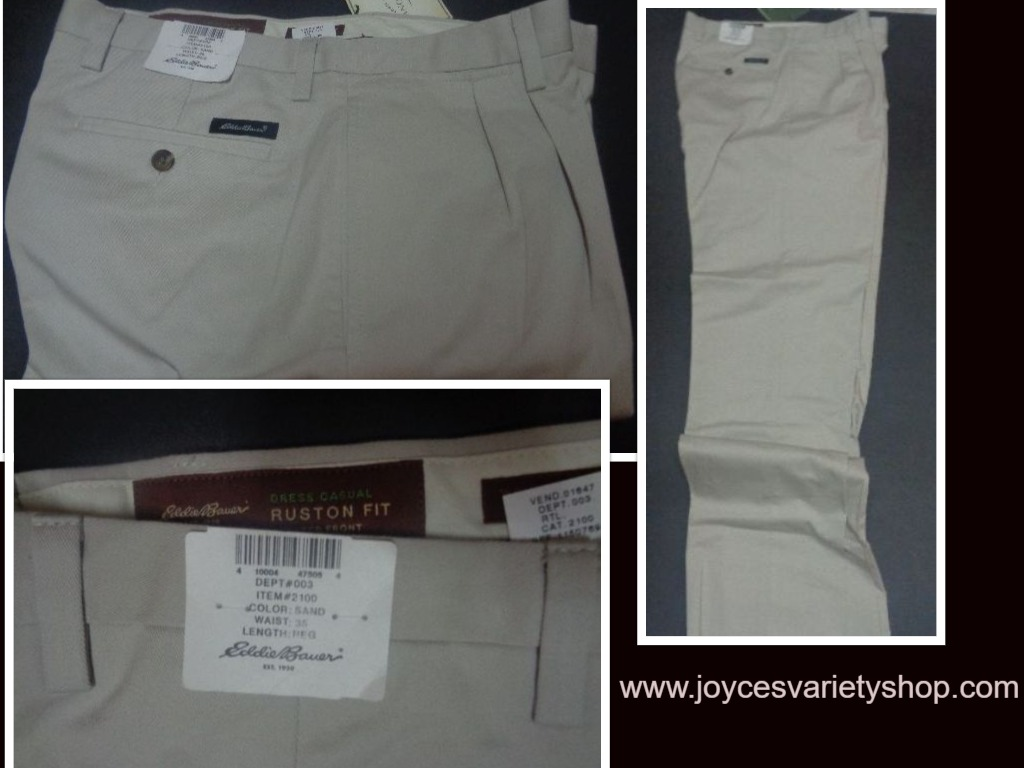 Eddie Bauer Men's Khaki Pants NWT Ruston Fit Nano Care SZ 35