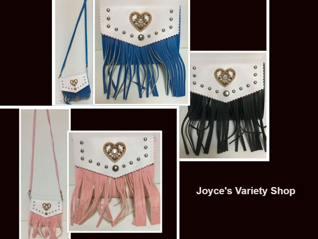 Western Faux Leather Fringe Purse Cross Body Choose Color Black Blue Pink