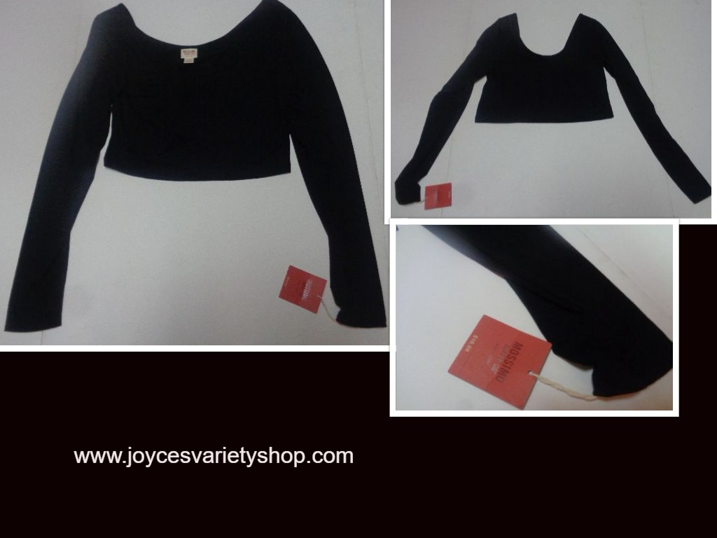 Mossimo Long Sleeve Ballet Crop Top Ebony NWT SZ L