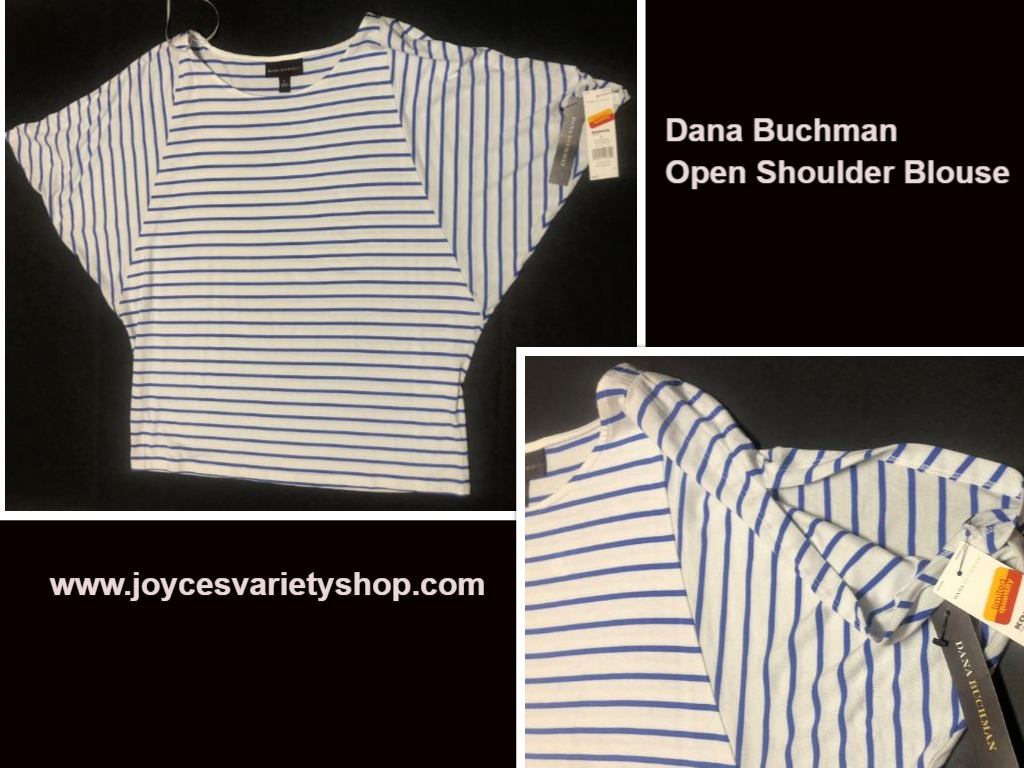 Dana Buchman Blouse Top Open Shoulder Striped Blue & White