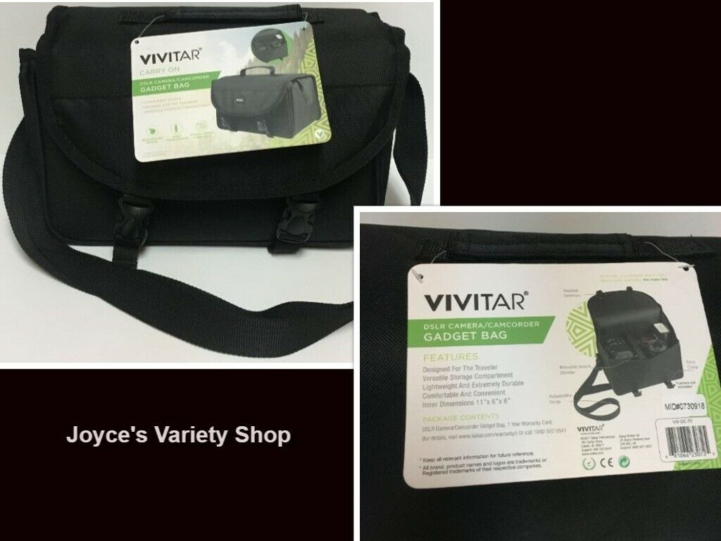 "Vivitar Carry On Gadget Bag Black 11"" x 6"" x 6"" Adj Strap Easy Clasp Camera Cam"