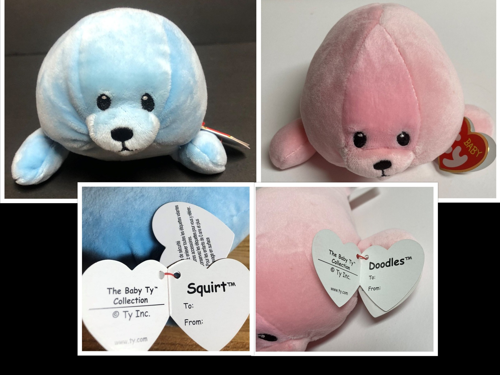 "TY Baby Collection Squirt the Blue Seal or Pink Doodles 7"" Soft Plush Toy Age 0+"