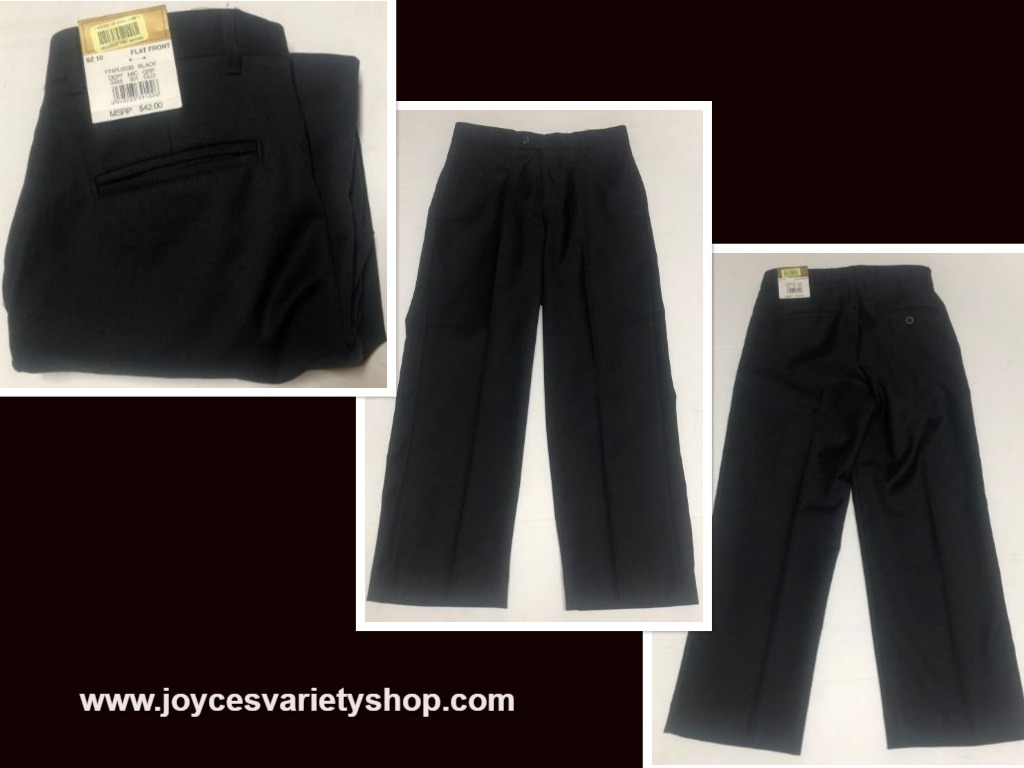 Boy's Dress Pants Slacks Sz 10 Black Flat Front Class Club Gold Label