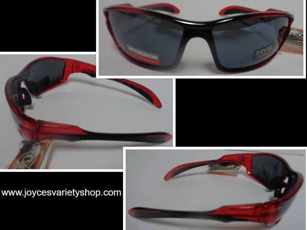 City Shades Sport Shatter Resistant Sunglasses Red Black