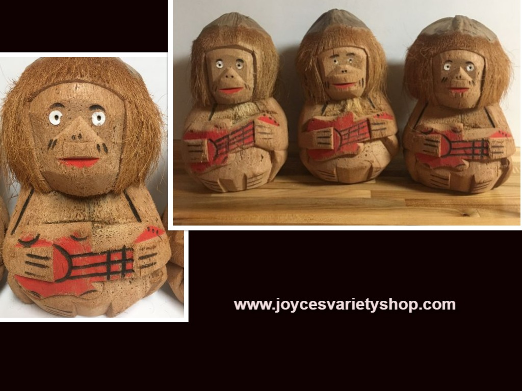 Hawaiian Hand Carved Coconuts Guitar Players Set of 3