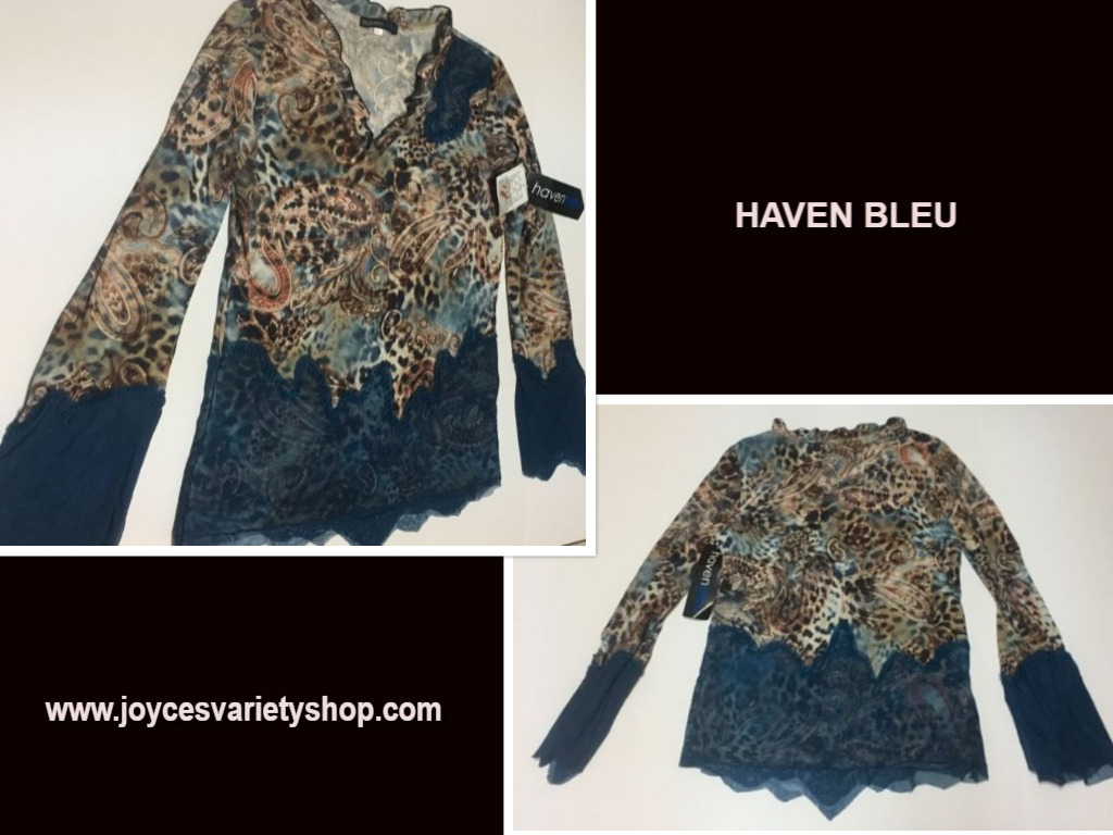 Haven Bleu Blue Lace Animal Blouse Top NWT Sz L