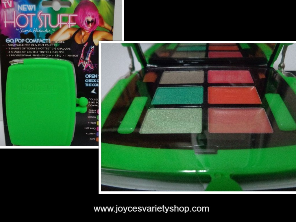 Hot Stuff Eye Shadow Lip Gloss Compact NWT Neon Green Case