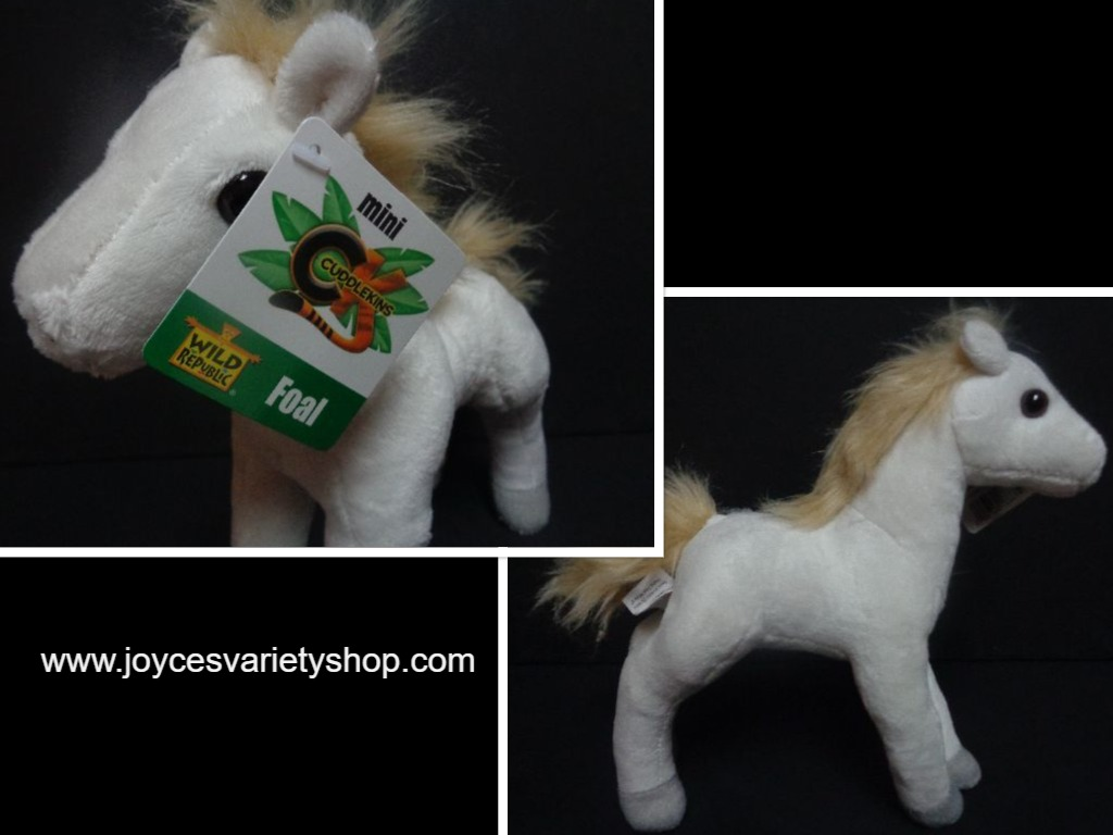 "Wild Republic White Mini Foal Pony Plush 8"" NWT Stuffed Animal"