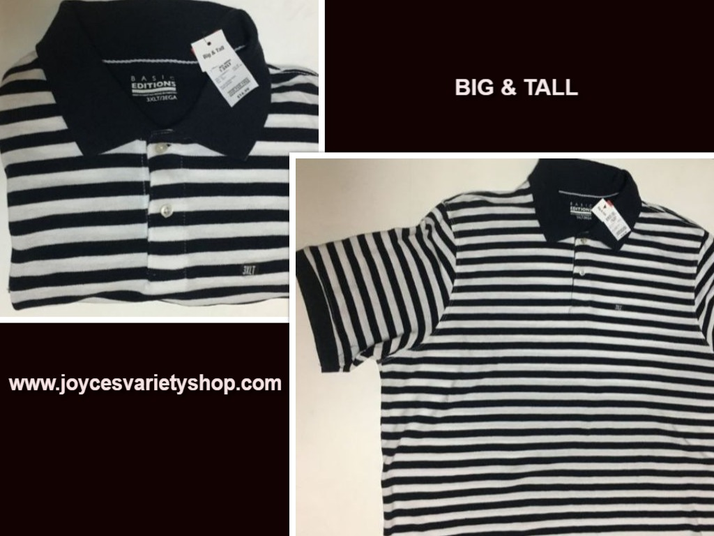 Men's Big & Tall Polo Shirt 3XLT White & Dark Sapphire Stripes