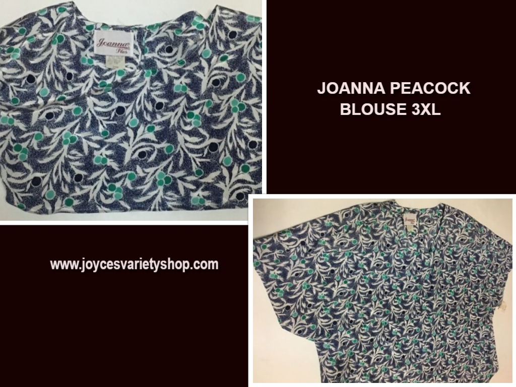 Joanna Plus Blouse Peacock Design 3XL Summer Top Short Sleeve