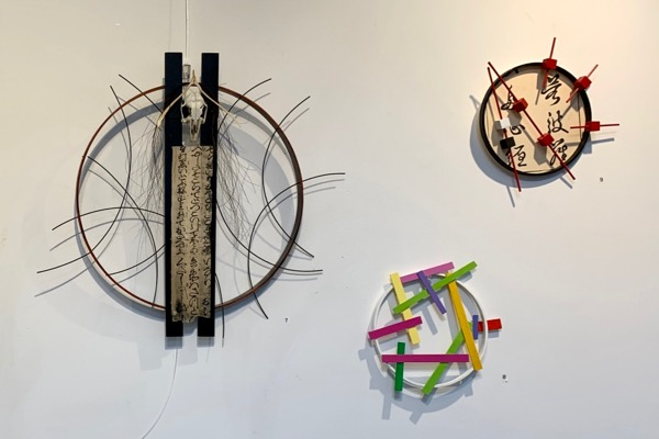 Image of 3 circular assemblage artworks by Abby Wasserman