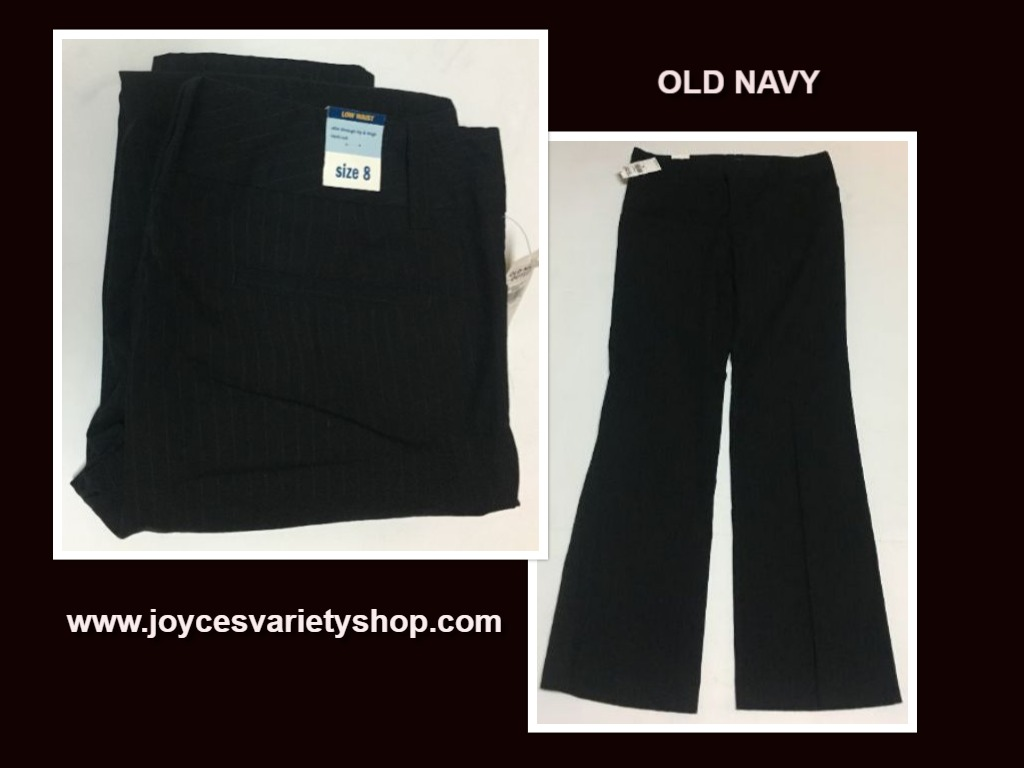 Old Navy Low Waist Pants Black Pinstriped Boot Cut Sz 8 Flat Front Stretch