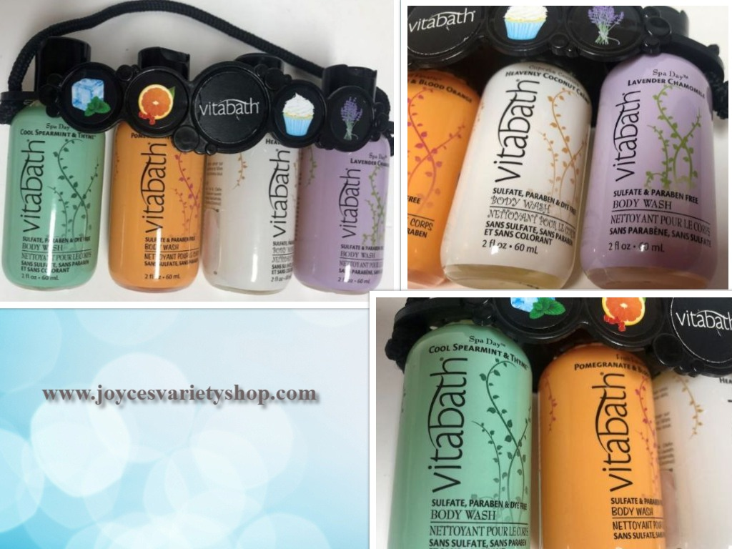 Vitabath Gift Set Body Wash 4-2 OZ Bottles Spearment Orange Coconut Lavender