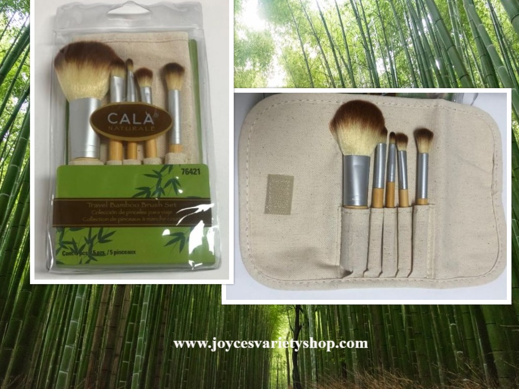 Cala Naturale Bamboo Make Up Brush Set 5 PC Pouch Travel Set