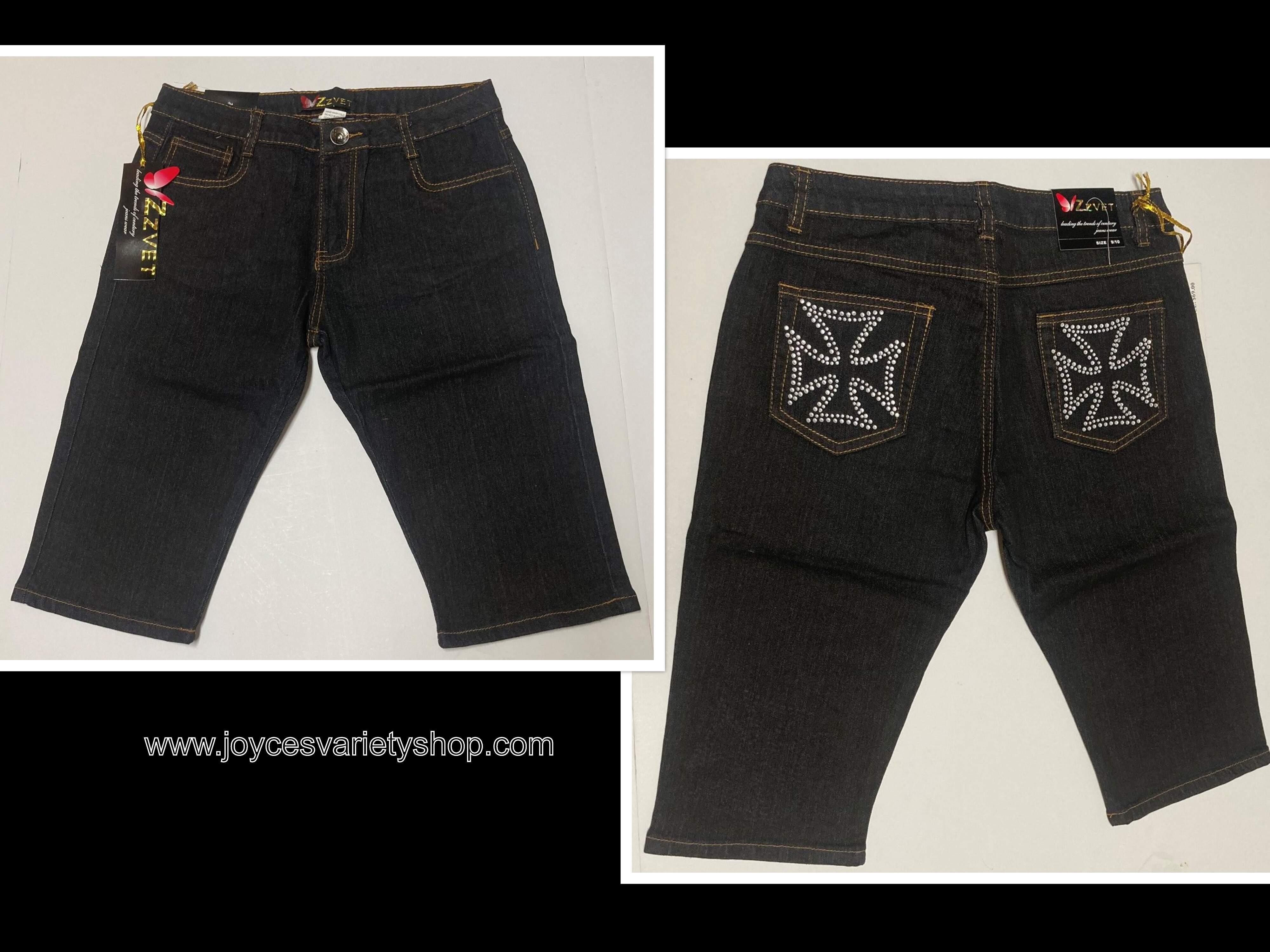 ZZVET Black Jean Shorts Indigo Stretch Iron Cross Design Juniors Various Sizes