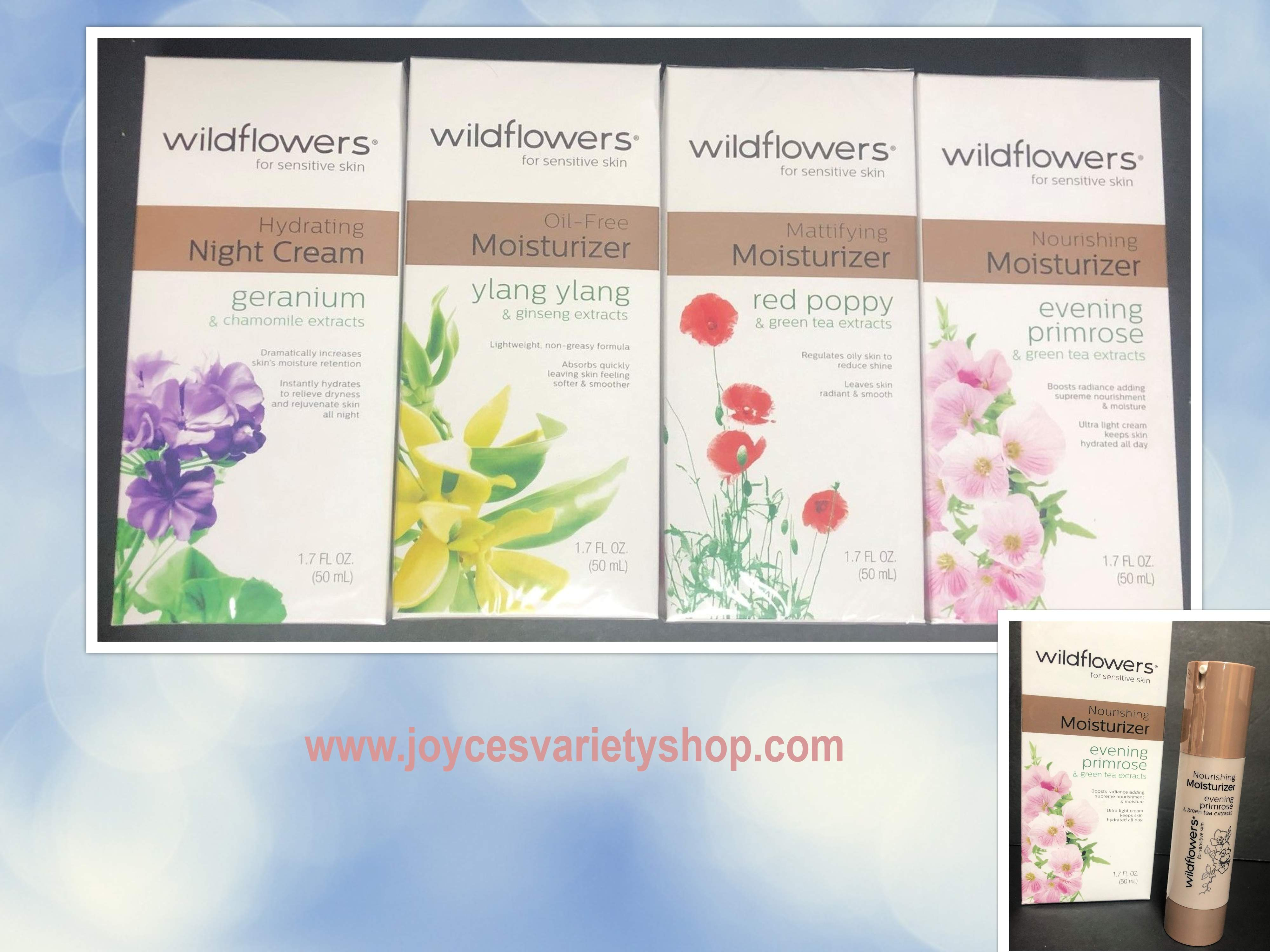 Wildflowers For Sensitive Skin Moisturizer Cream 1.7 FL OZ Many Varieties