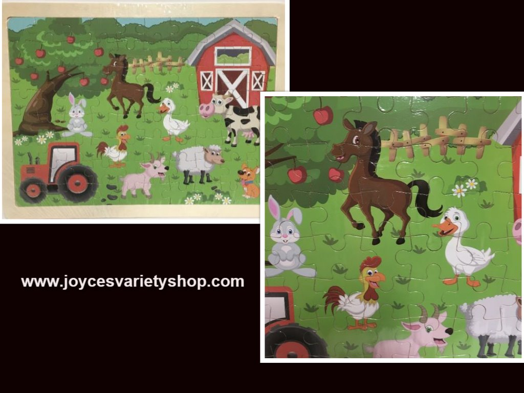 "Hands Craft Wood Frame Farm Animals Jigsaw Puzzle 80 Piece 9"" x 12"" Ages 5+"