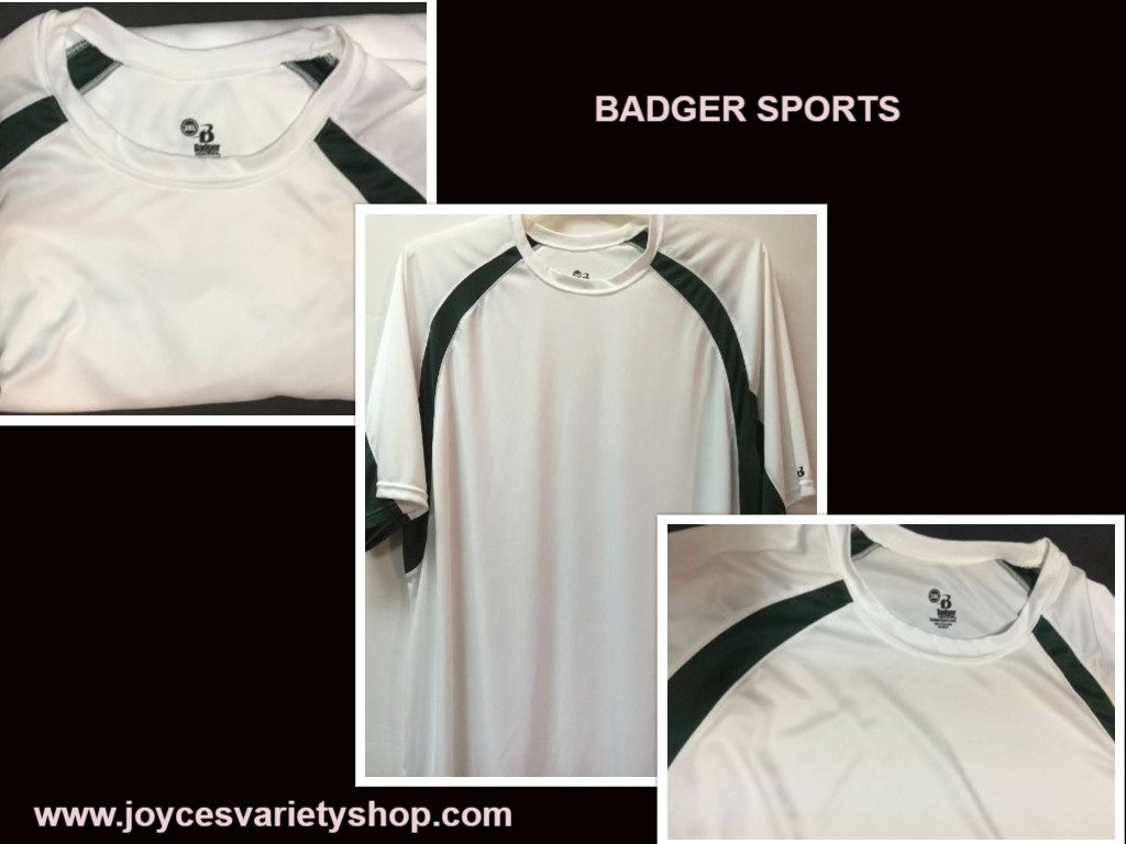 Badger Sports Men's Shirt White & Green 3XL Moisture Wicking