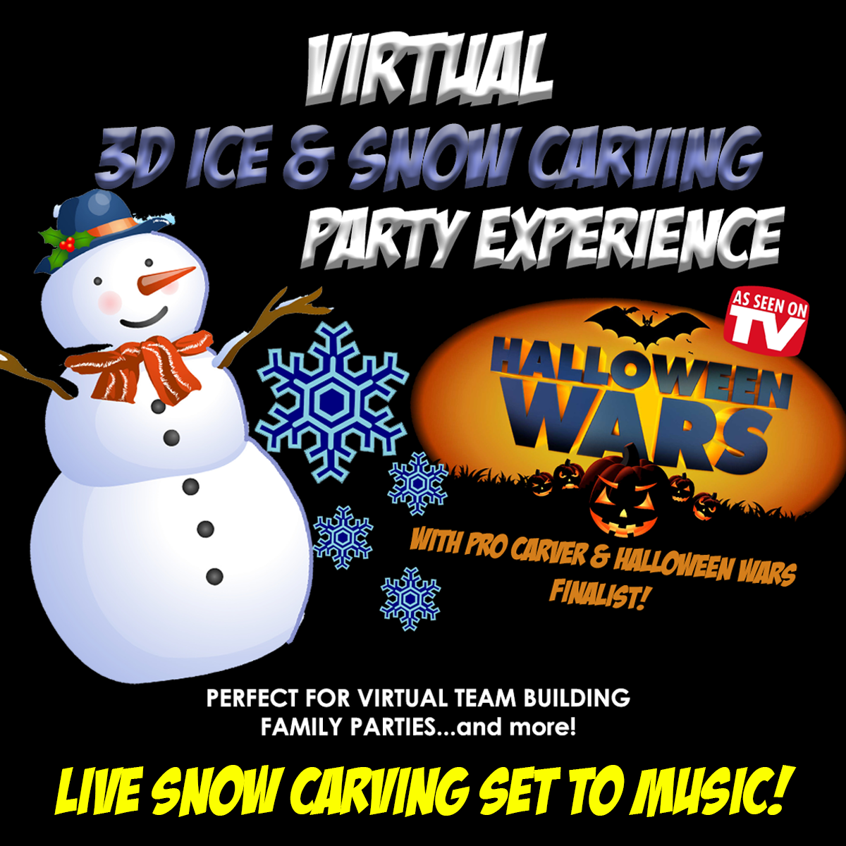 virtual enterainment, zoom party ideas,virtual snow carving, snowcarving, virtual carver, winter zoom, zoom party ideas