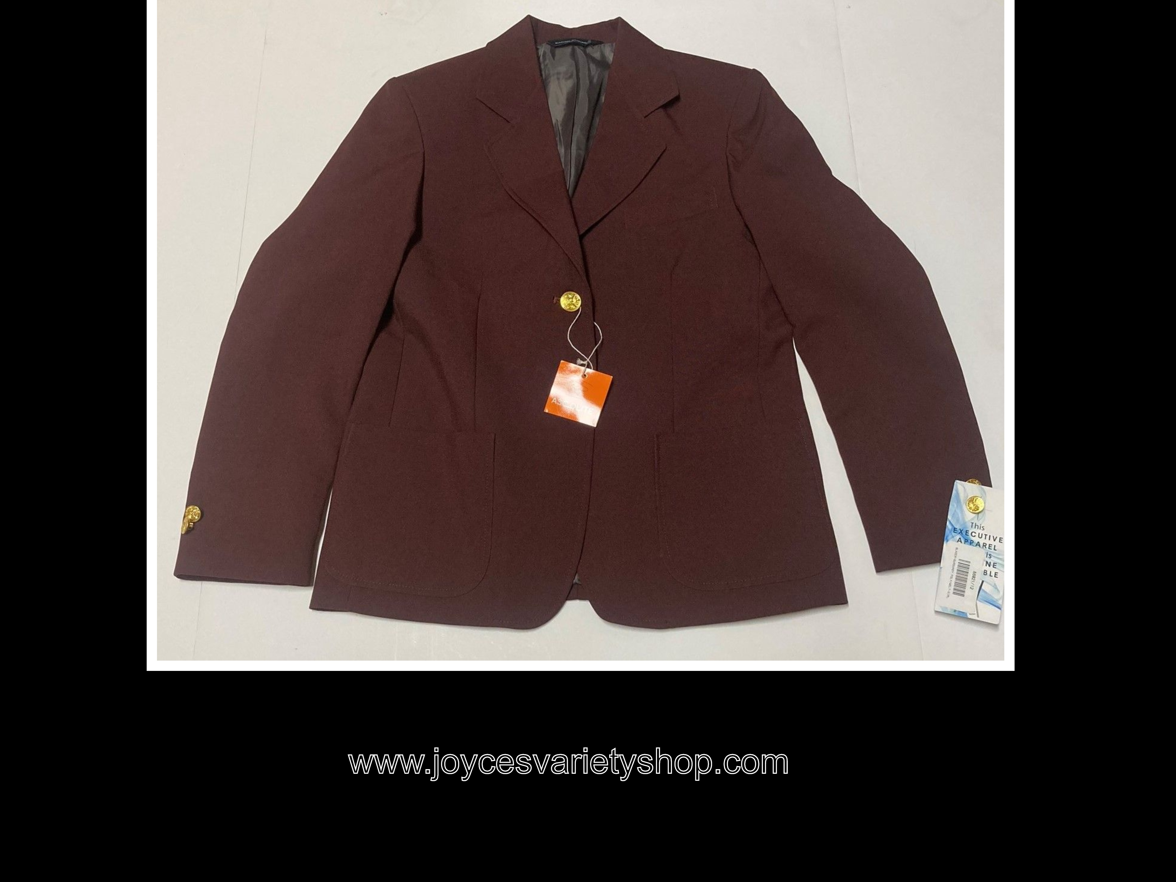 Executive Apparel Career Jacket Womens Sz 12R Burgundy Blazer Machine Washable