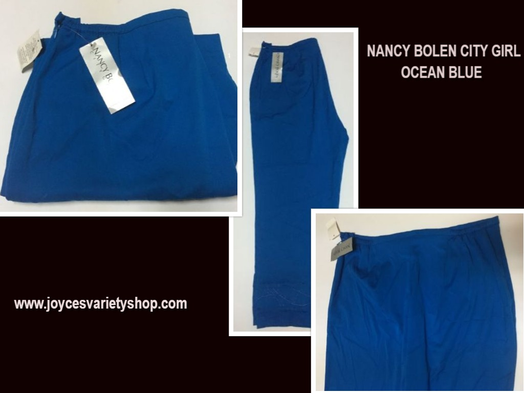 Nancy Bolen City Girl Pants Ocean Blue SZ 16