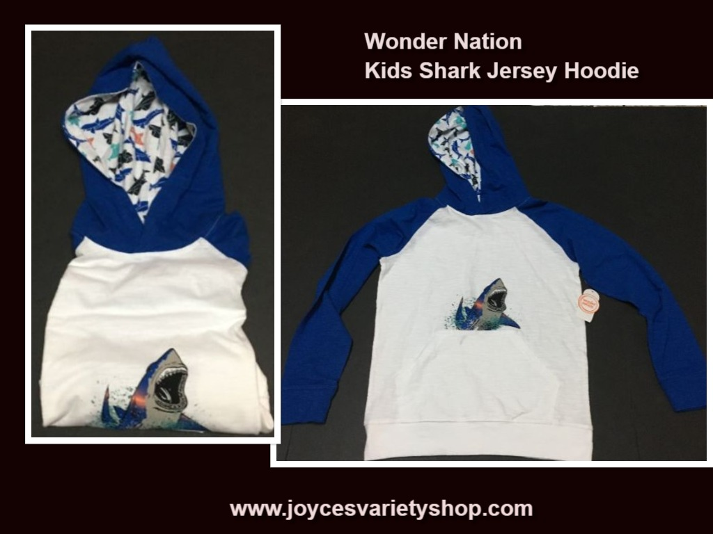 Wonder Nation Kid's Shark Jersey Hoodie Sz L (10-12)