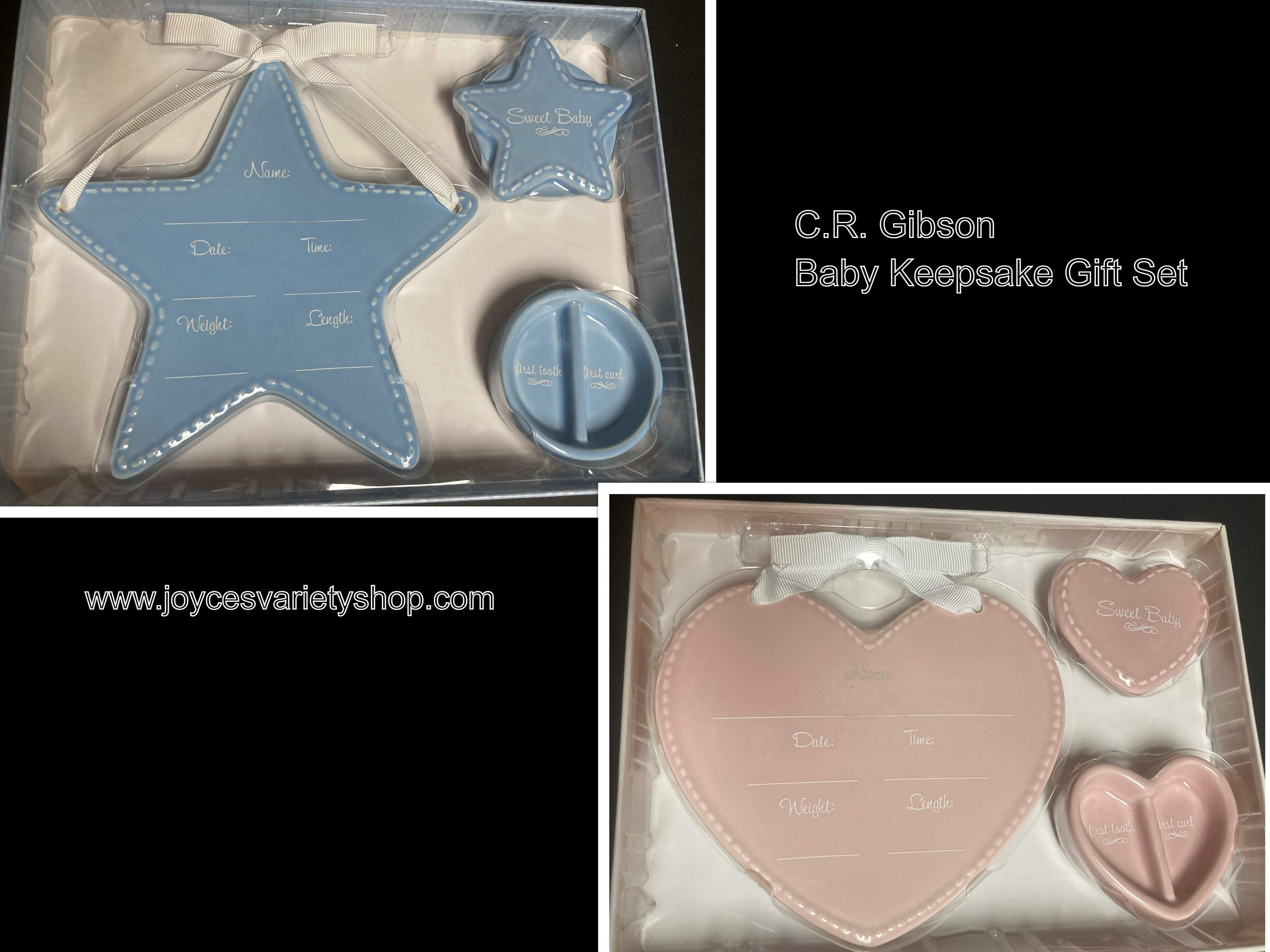 Baby Keepsake Gift Set C.R. Gibson Ceramic First Tooth Curl Pink or Blue