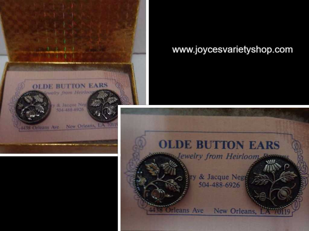 Olde Button Heirloom Earrings Metallic Tree NWT by Barry & Jacque