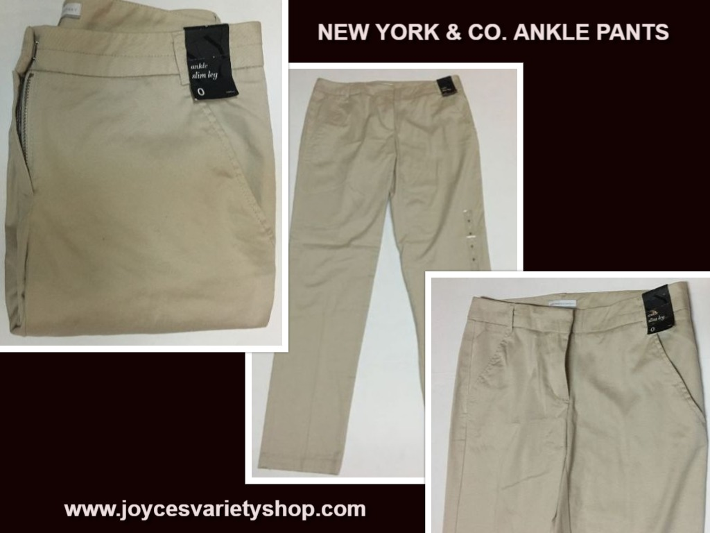 New York & Co Ankle Pants Beige Sz 0 NWT Slim Leg