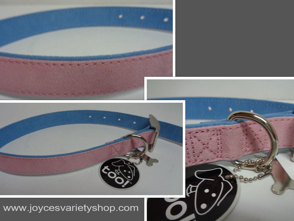 "Fancy Dog Collar NWT Adjustable 22"" Large Size Breed Pink&Blue Soft Faux Leather"