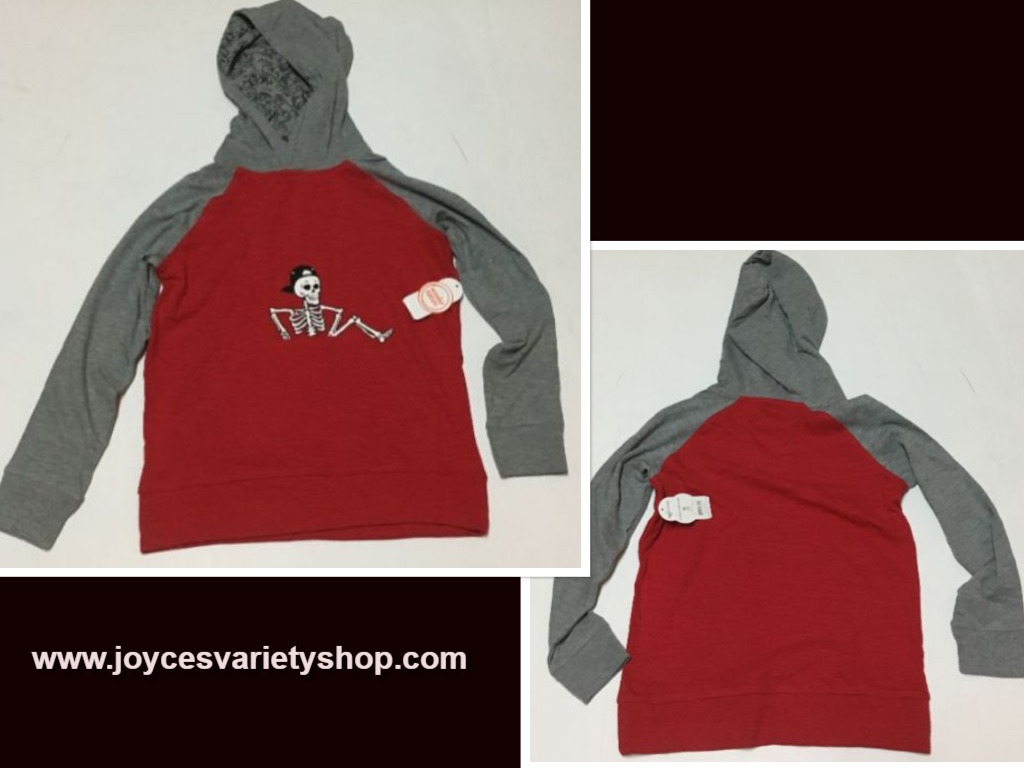 Wonder Nation Jersey Hoodie Shirt Skeleton Red & Gray Multiple Sizes