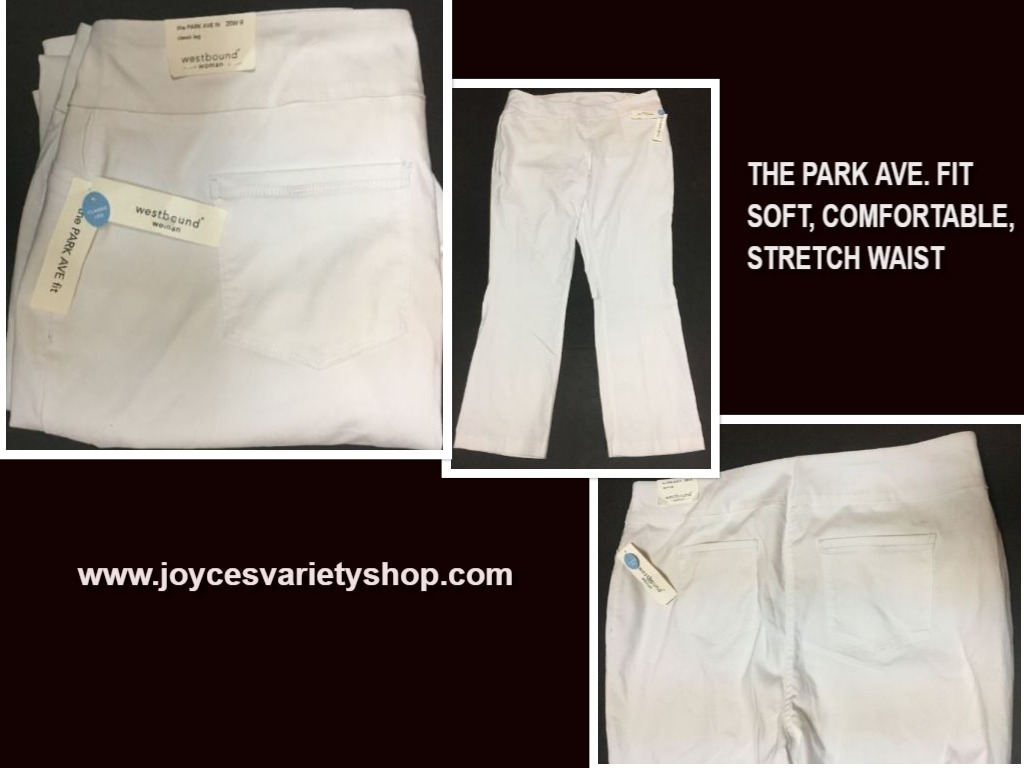 Park Ave Fit Westbound Woman Pants 20R White Soft Comfortable Stretch Waist