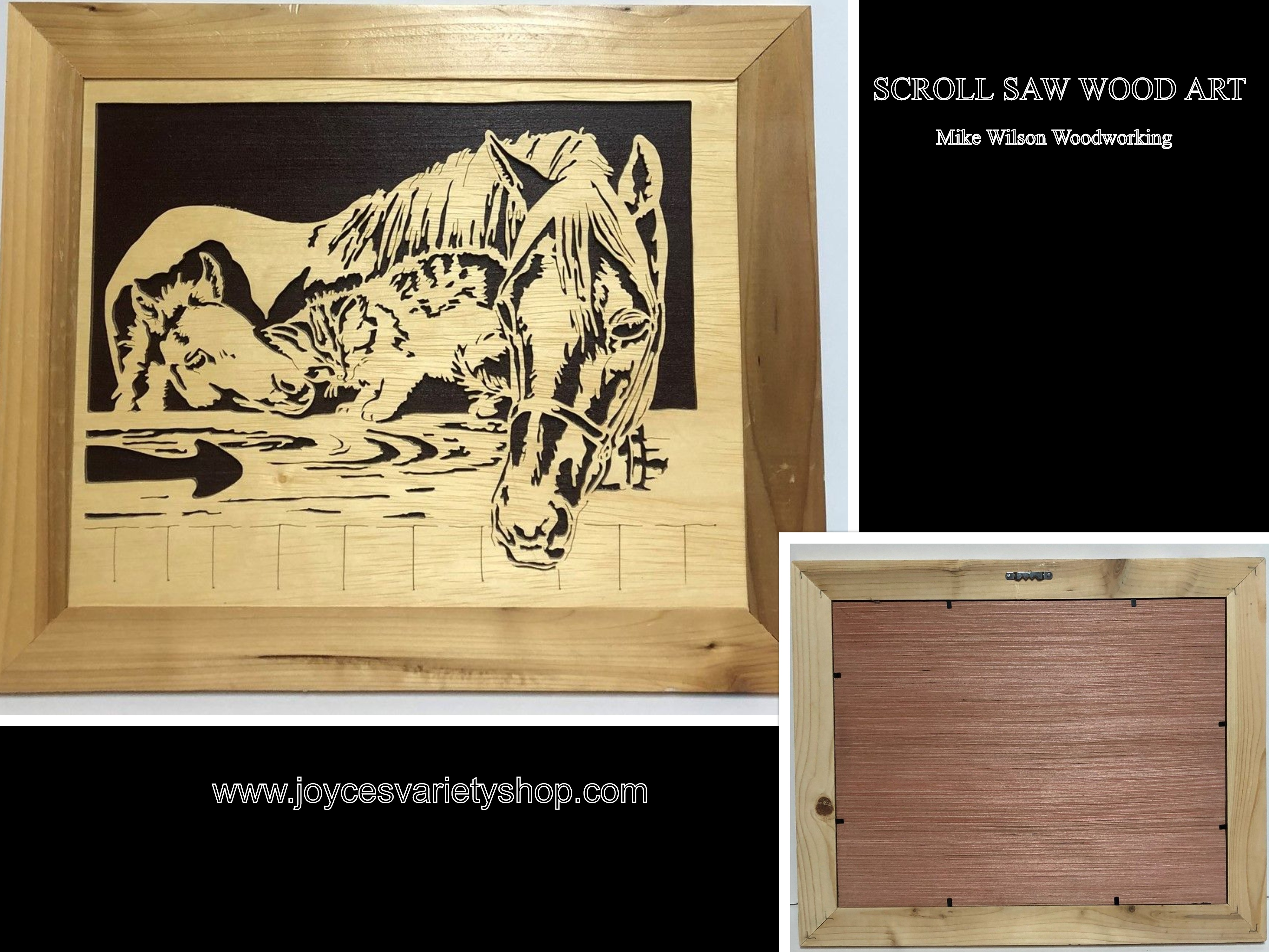 "Scroll Saw Art Mike Wilson Woodwork Horse & Cat Play 17"" x 14"" Framed"