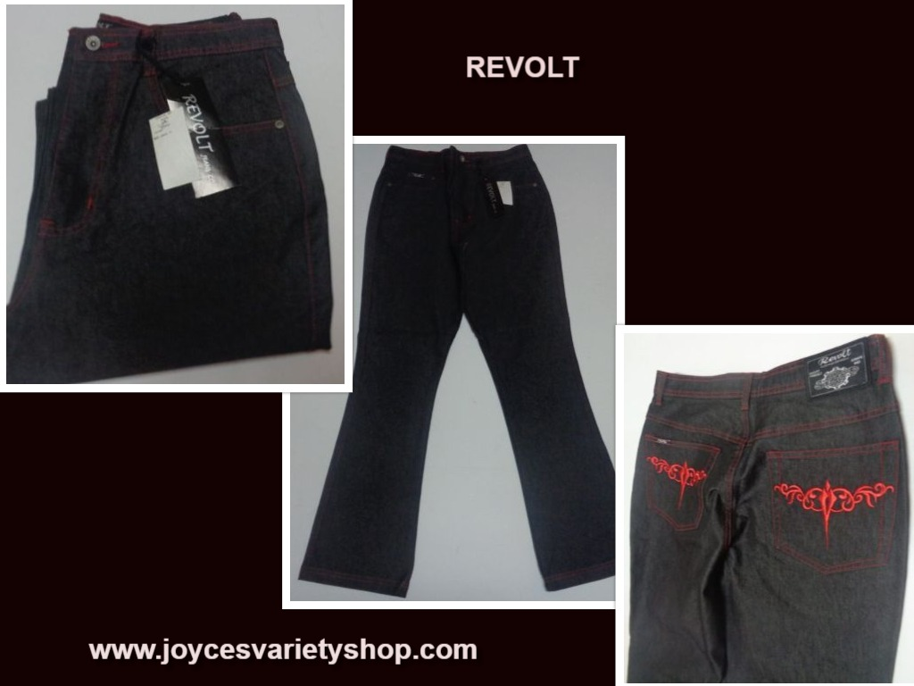 Women's Revolt Boot Cut Jeans Black Sz 14 Embroidered Pockets