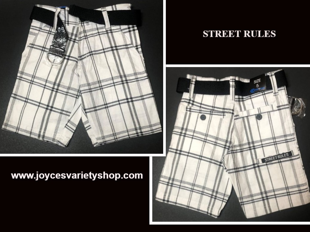 Street Rules Boys Shorts Sz 5 Kids Black & White Plaid Belted