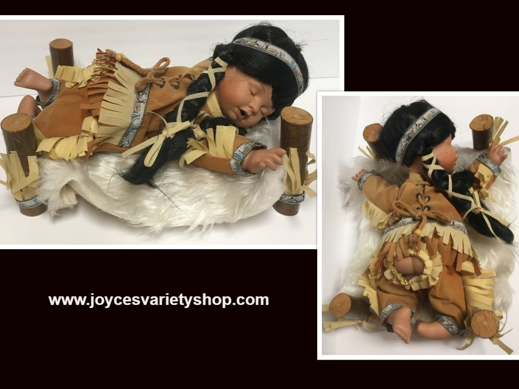 Goldenvale Collection Native American Doll Sleeping in Traditional Bed