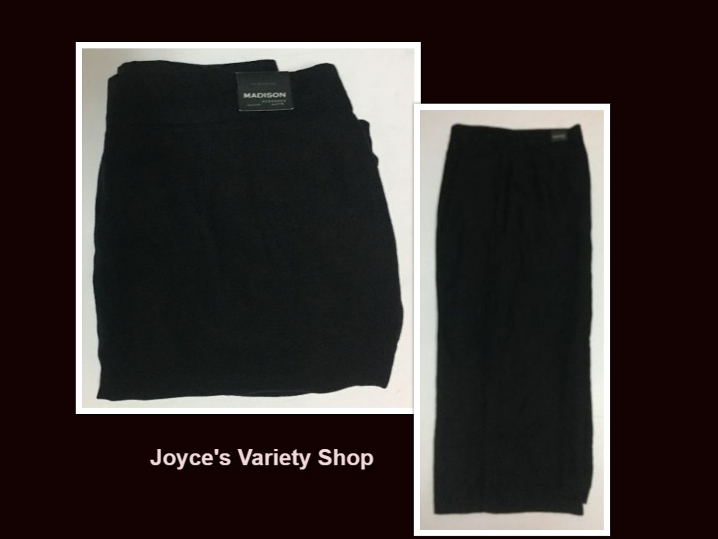 Madison Black Slacks Pants Flair Capri Linen Sz 16 R Casual or Dress