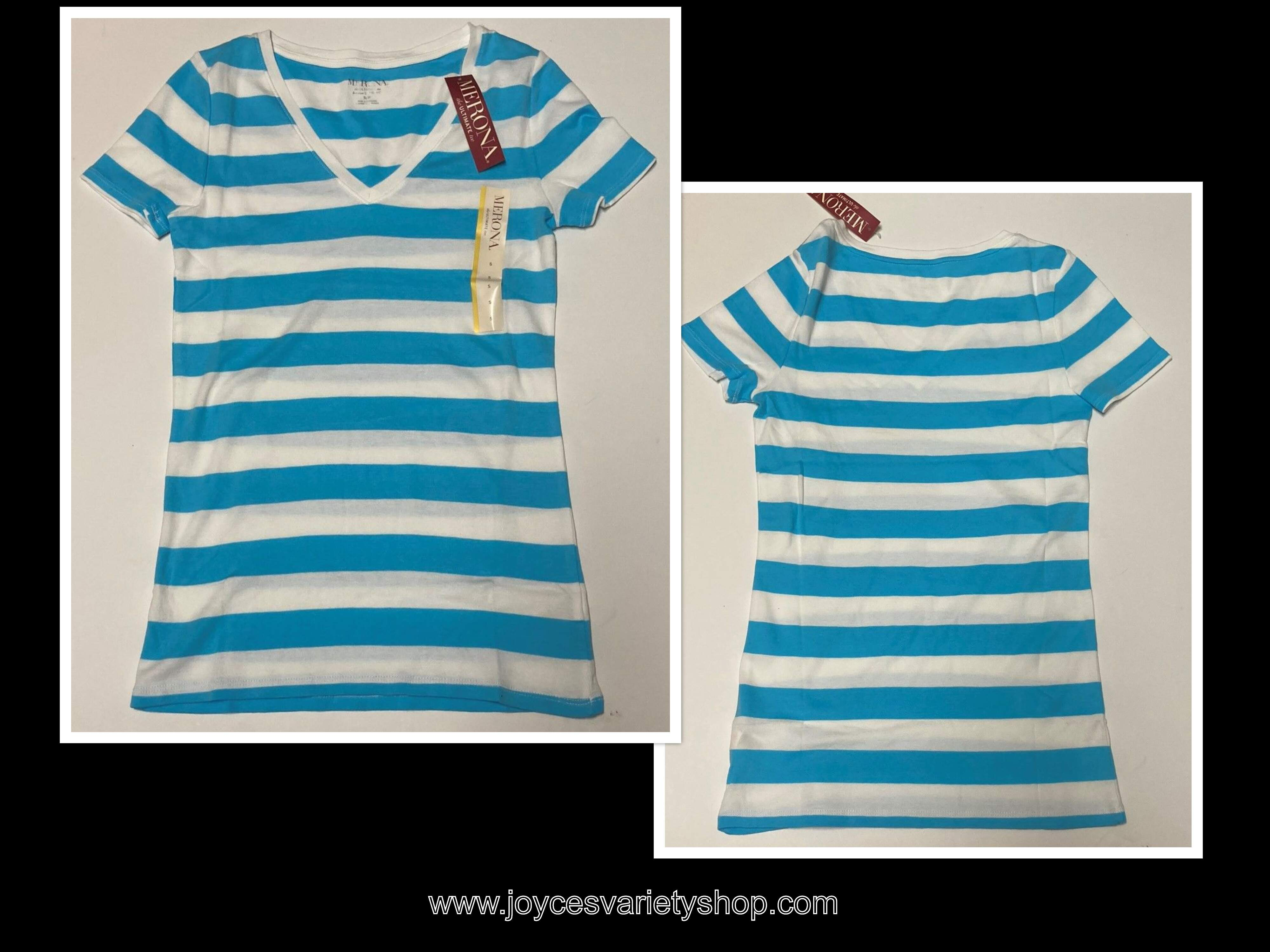Merona Blue & White Striped Long T-Shirt Soft 100% Cotton Juniors Various Sizes