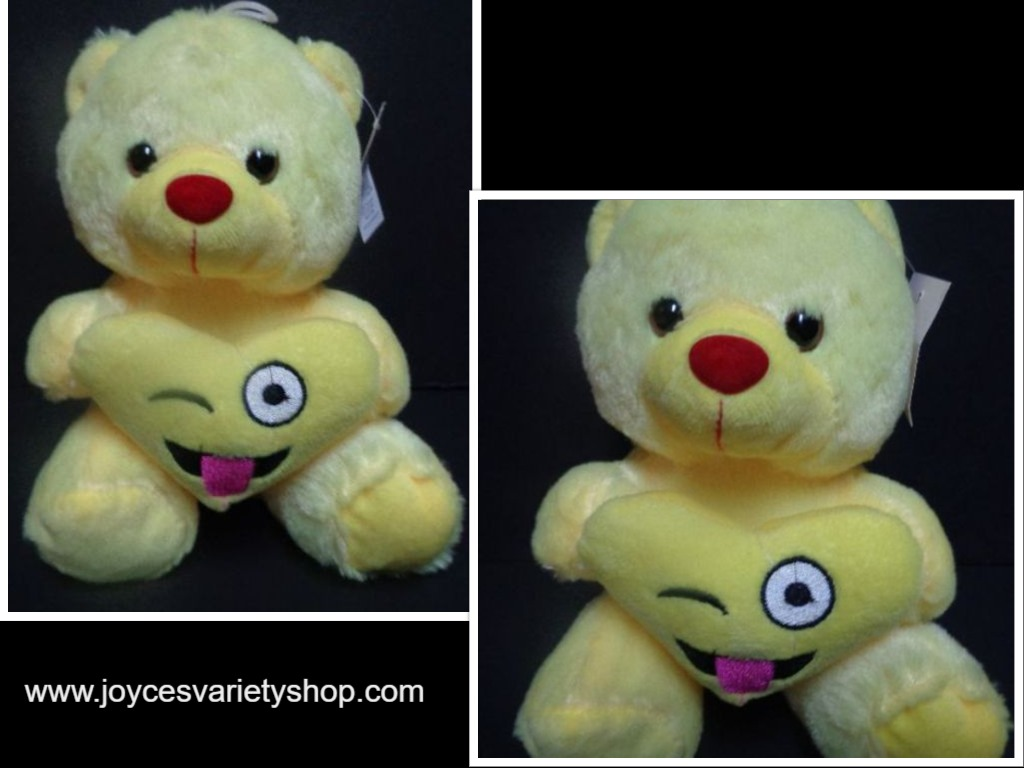 "Valentine Plush Teddy Bear NWT Joking Emoji 8"" Tongue Out Winking Eye Love"
