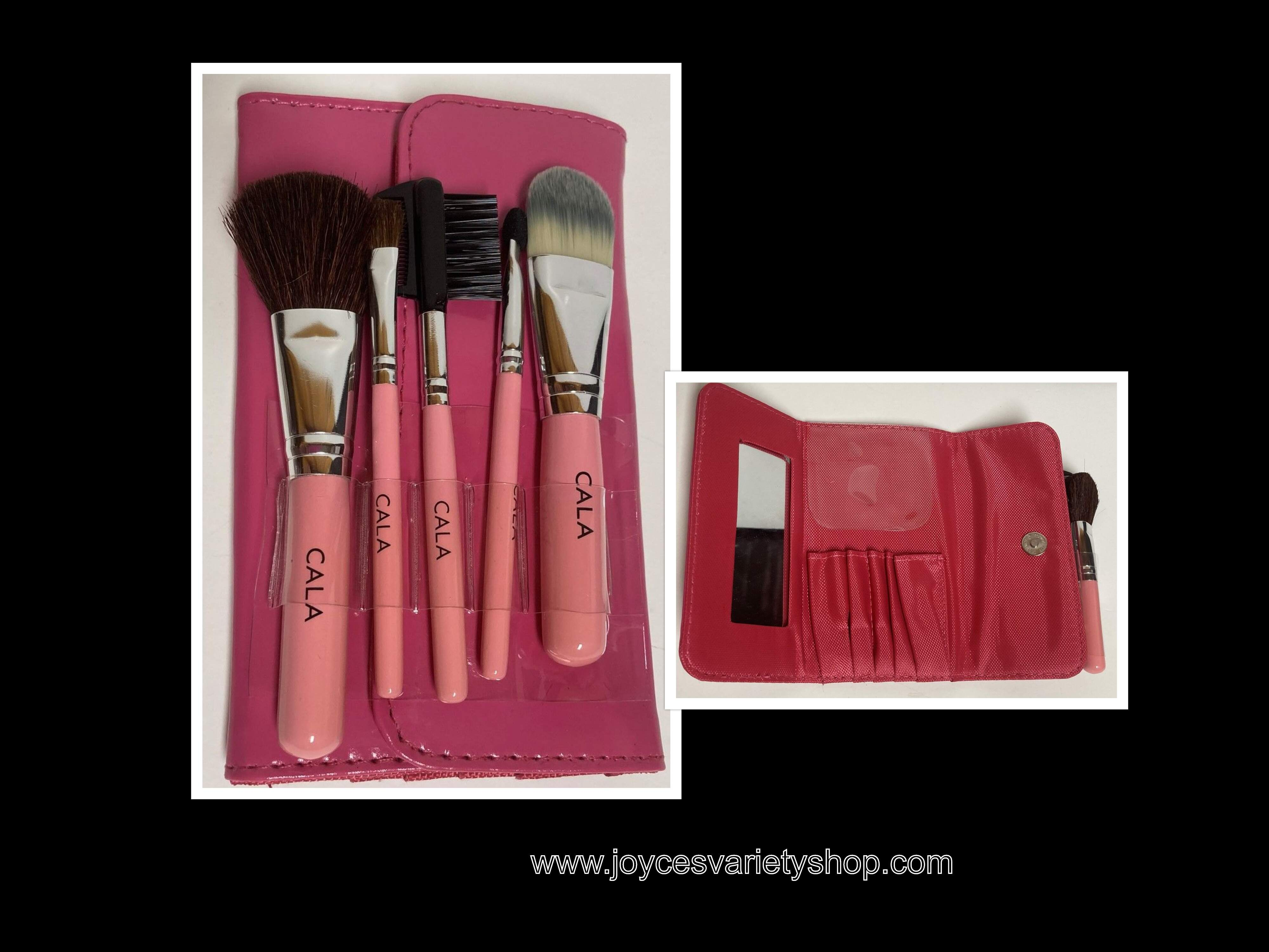 Cala Pink Coral Make Up Brush Set 5 PC Pouch Travel Set