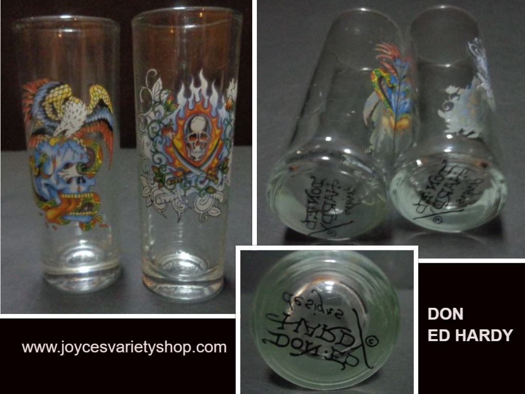 Don Ed Hardy Shot Glasses Set of 2