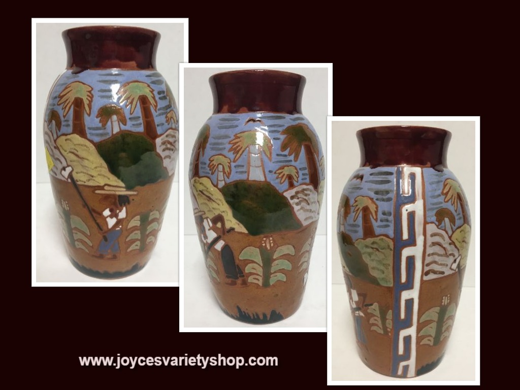 "Southwestern Terracotta Glazed Hand Painted Vase Earth-ware Pottery 7.5"" H"