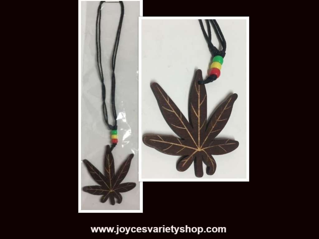 "Wood Marijuana Leaf Pendant 16"" Necklace Fashion Jewelry"