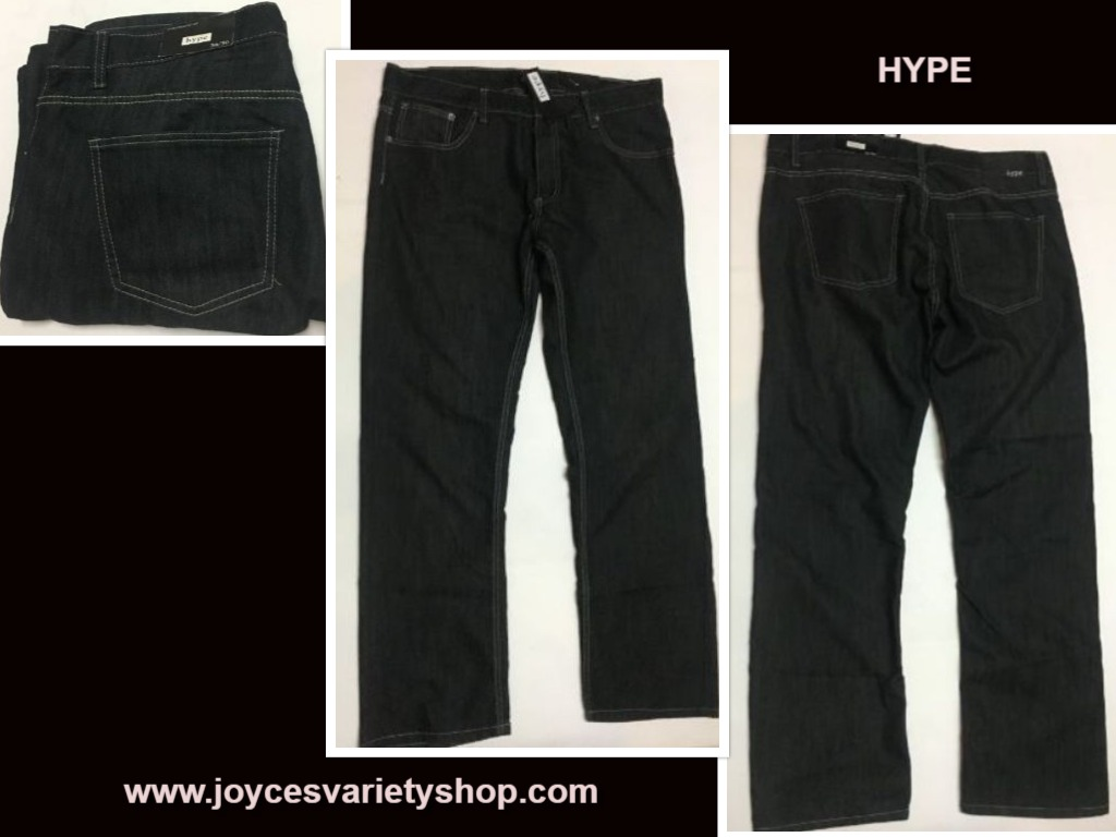 HYPE Men's Jeans Slim Straight Fit Sz 36/30 Black