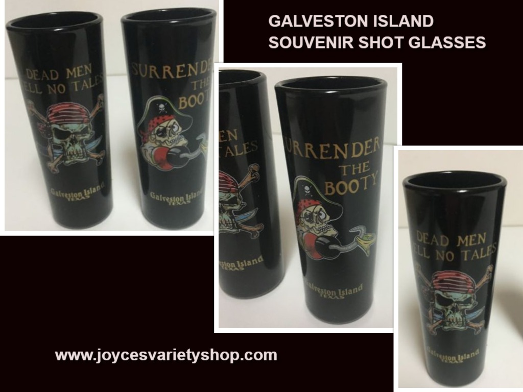 Galveston Island Texas Souvenir Shot Glasses Set of 2 Surrender No Tales 2 Oz.